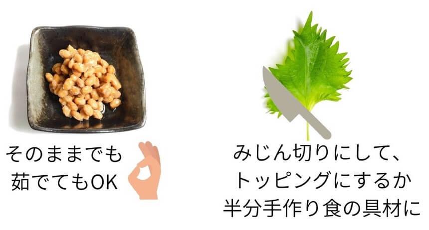 納豆としその調理例